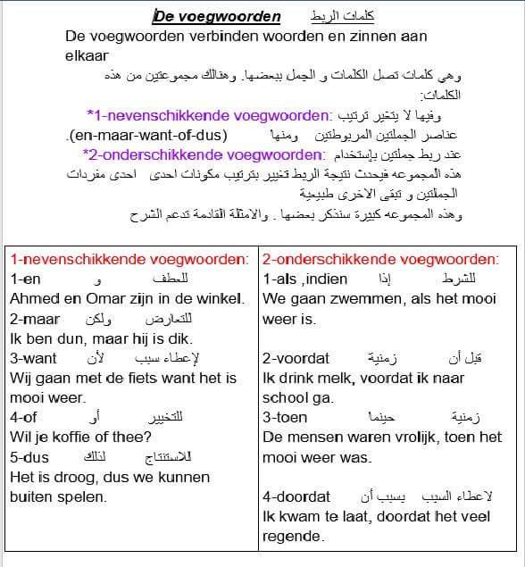 درس مهم جدا وسهل (كلمات الربط) في اللغة الهولندية