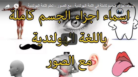 بالصوت والفيديو : اسماء اجزاء الجسم في اللغة الهولندية