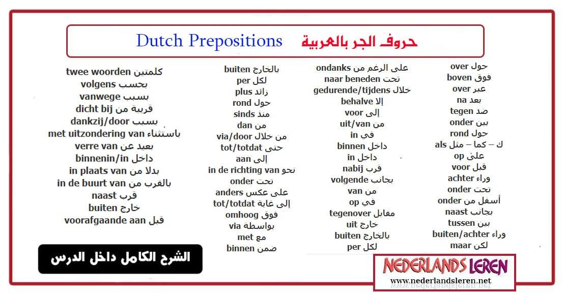 """حروف الجر بالعربية """"حروف الجر في الهولندية"""""""