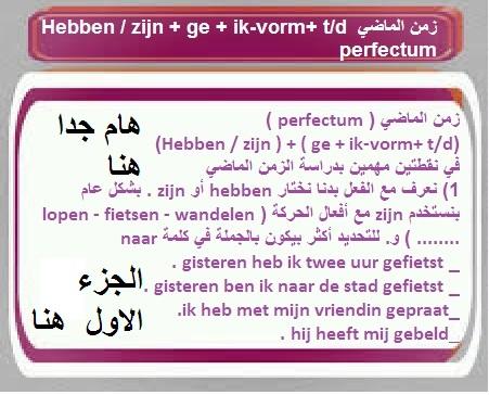 الجزء الاول زمن الماضي (Hebben / zijn ) + ( ge + ik-vorm+ t/d) (perfectum)