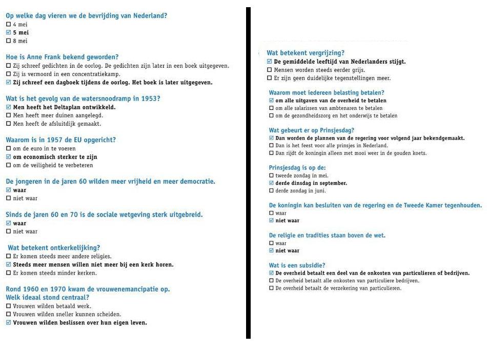 الجزء الخامس اسئلة تدريب علي نموذج امتحان KNM في اللغة الهولندية