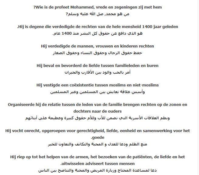 من هو (سيدنا محمد) صلي الله عليه وسلم باللغة الهولندية