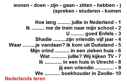 اختر الفعل الصحيح وقم بتصريفه و ضعه في الفراغ المناسب باللغة الهولندية