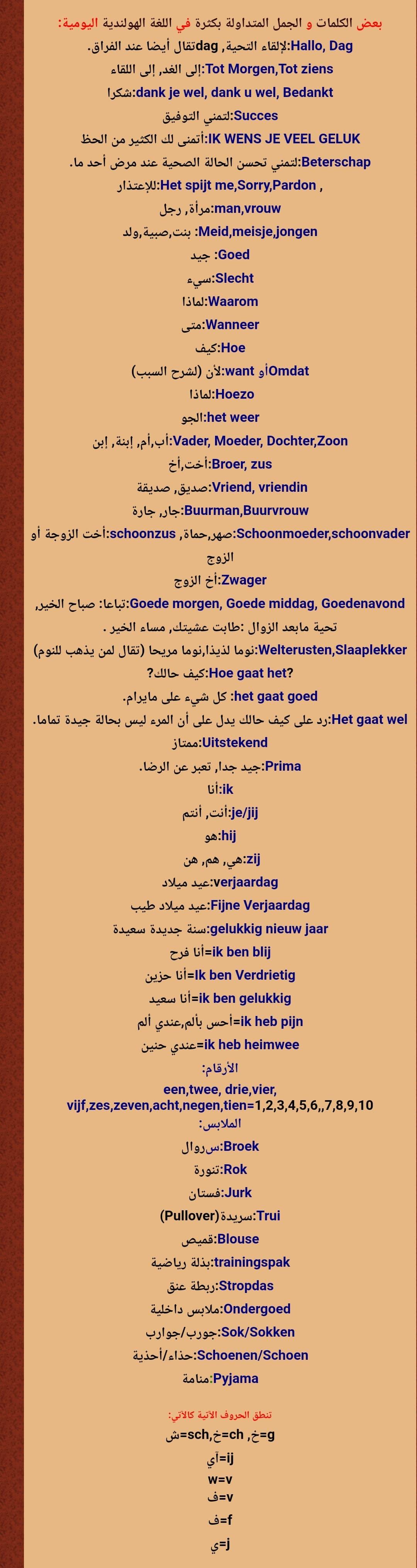 الكلمات والجمل المتداولة باللغة الهولندية