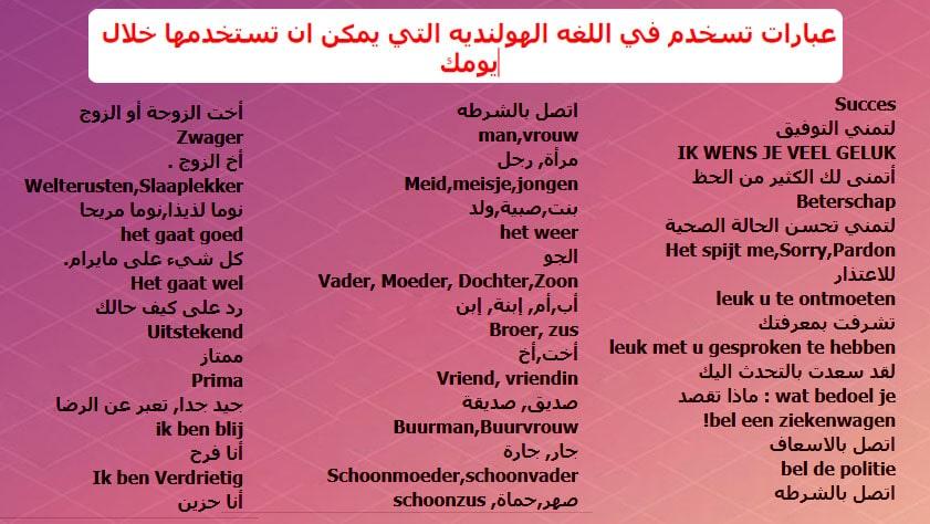عبارات تسخدم في اللغه الهولنديه التي يمكن ان تستخدمها خلال يومك