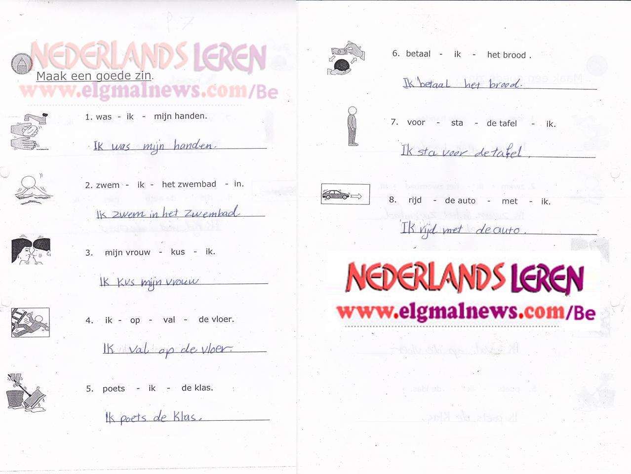 تدريب علي الجمل باللغة الهولندية - Maak een goede zin
