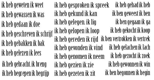 شرح هام و جديد الأفعال الشاذة. الماضي التام صيغة الحاضر في الهولندية