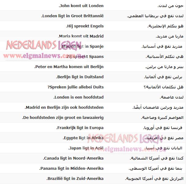 الدرس الخامس - البلدان واللغات - في دورة تعليم اللغة الهولندية للمبتدئين