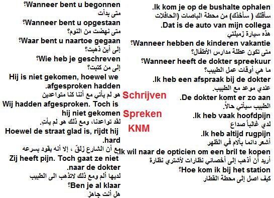 جمل تحتاجها في Lezen, Schrijven, Spreken, Luisteren