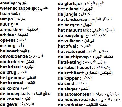مجموعة كبيره من الكلمات الهولنديه لكثير من المجالات باللغة الهولندية
