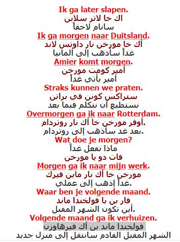 بعض الجمل في المستقبل تفيدكم في المحادثات مع الاخرين باللغة الهولندية