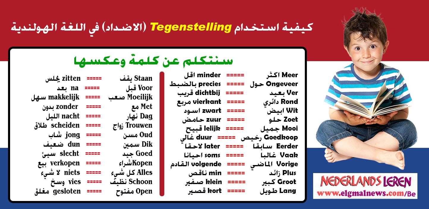 كيفية استخدام Tegenstelling(الاضداد) في اللغة الهولندية Nederlands leren