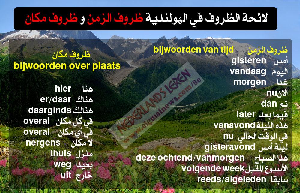 لائحة الظروف في الهولندية (ظروف الزمن و ظروف مكان) - Nederlands leren