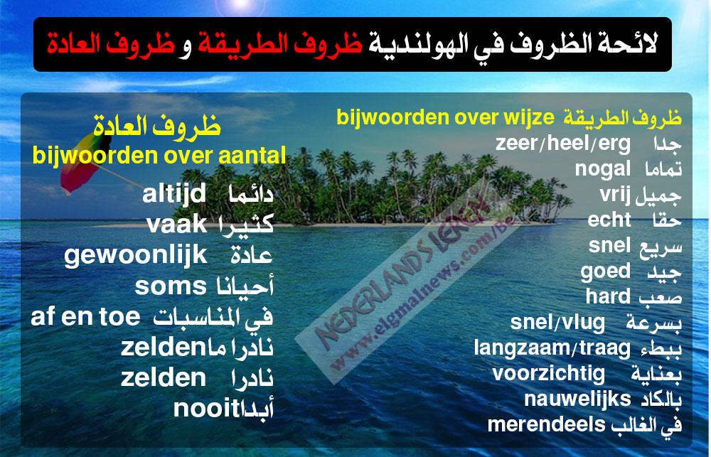 لائحة الظروف في الهولندية (ظروف الطريقة و ظروف العادة) - Nederlands leren