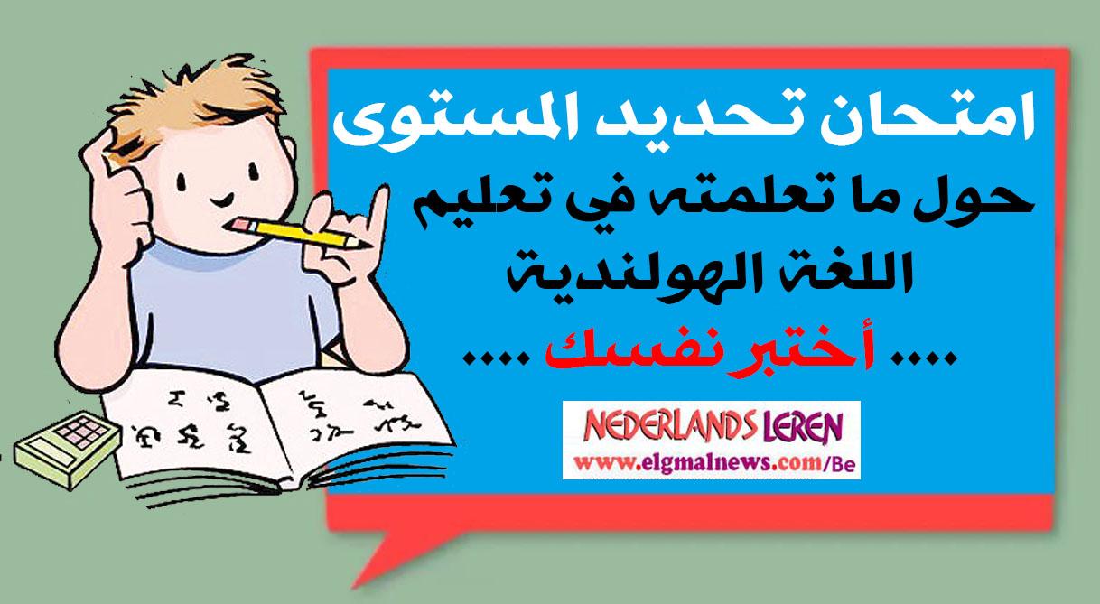 Examen : امتحان تحديد المستوى (تجريبي) حول ما تعلمته في تعليم اللغة الهولندية