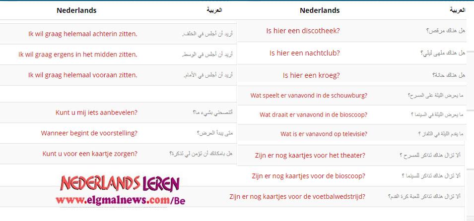 الدرس الثامن والثلاثون– الخروج مساء–في دورة تعليم اللغة الهولندية للمبتدئين
