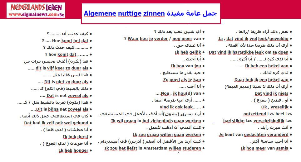 أهم الجمل الهولندية التي تستخدم في المحادثة - تعلم اللغة الهولندية