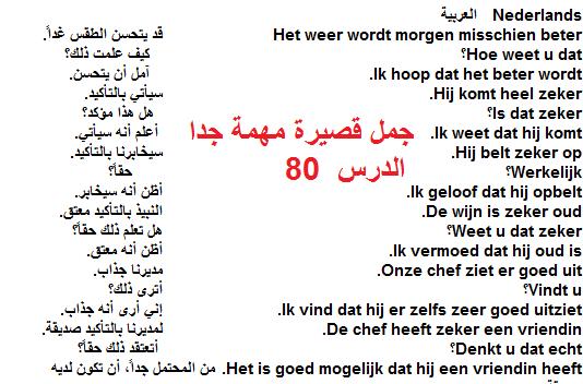 الدرس الثامنون – الجمل قصيرة مهمة جدا (الجزء الاول) – من دورة تعليم اللغة الهولندية