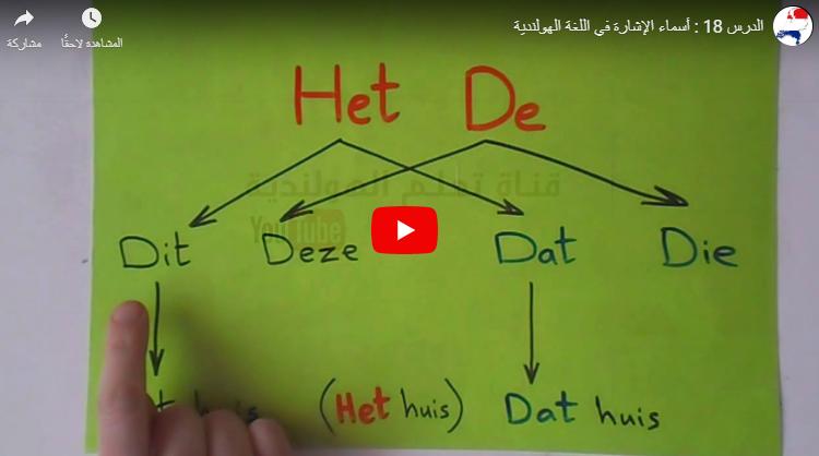 تعليم أسماء الإشارة اللغة الهولندية بالصوت والفيديو