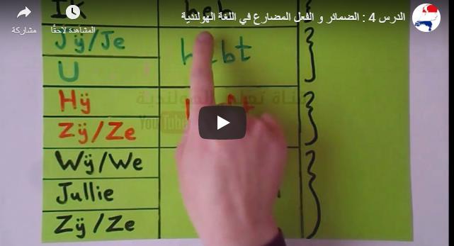 الدرس 4 : تعليم الضمائر و الفعل المضارع في اللغة الهولندية بالصوت والفيديو