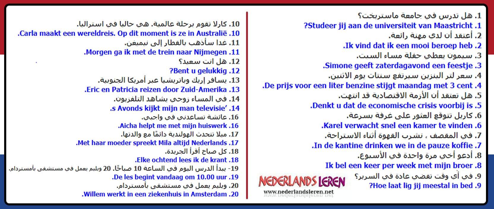 اهم 20 جملة مع بعض الاسئلة المهمة في اللغة الهولندية 2020