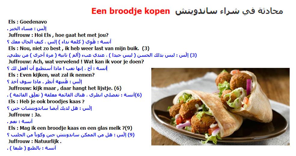 الدرس الرابع .. محادثة هولندية مترجمة في شراء ساندويتش Een broodje kopen في تعلم اللغة الهولندية